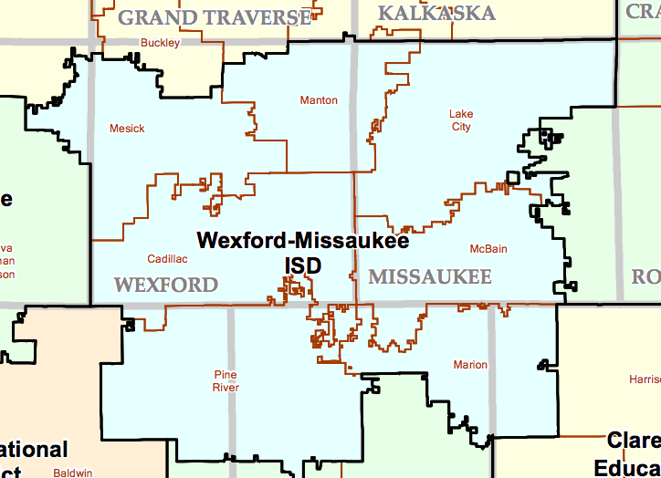 Wexford-Missaukee ISD boundary map
